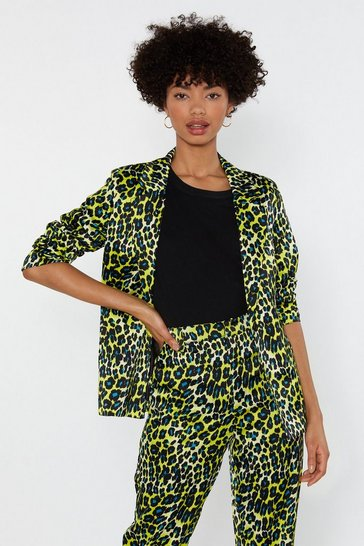 Womens Yellow Prowl or Never Satin Leopard Blazer