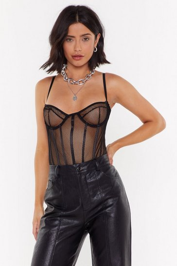 Womens Black You Are Net Alone Cupped Bodysuit
