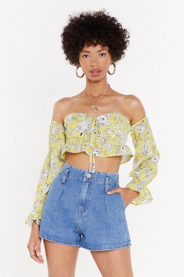 Womens Lemon In Bloom Off-the-Shoulder Floral Top