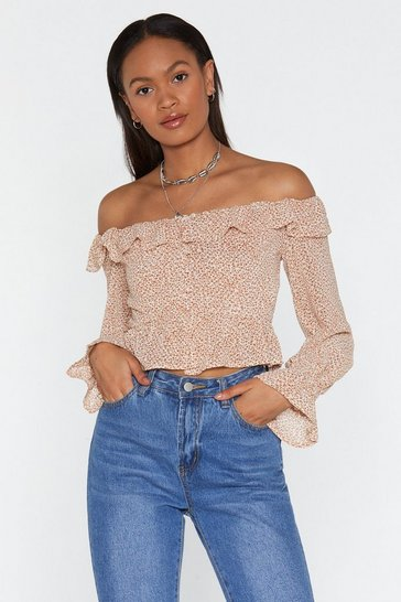 Womens Rust Flower Child Off-the-Shoulder Floral Blouse