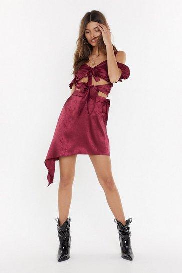 Raspberry Hammered Satin Co-ord Skirt