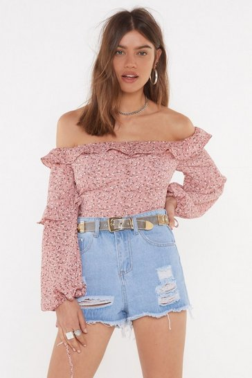 Womens Rose Buddy Up Floral Off-the-Shoulder Blouse
