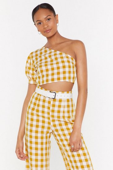 Womens Multi One on One Shoulder Gingham Crop Top