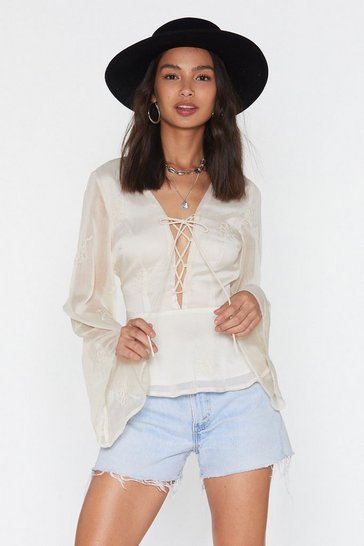 Womens Cream Lace Up Embroidered Blouse