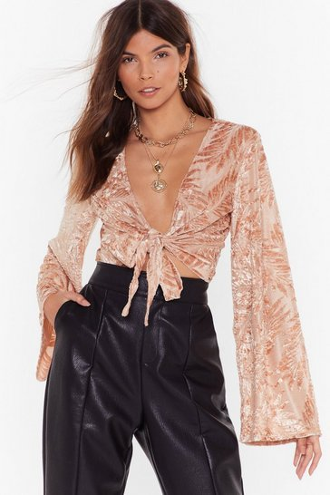 Womens Nude Flocked Velvet Tie Front Top