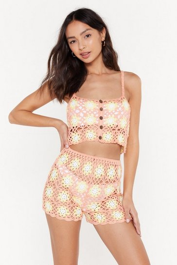 Womens Coral Crochet Daisy Top Coord