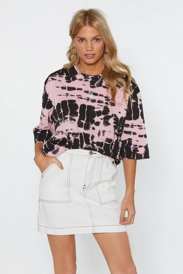 Womens Pink Tie Dye-ing to See You Oversized Tee