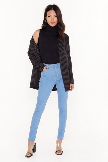 Womens Light blue Recyled You Know We're Tight High-Waisted Skinny Jeans
