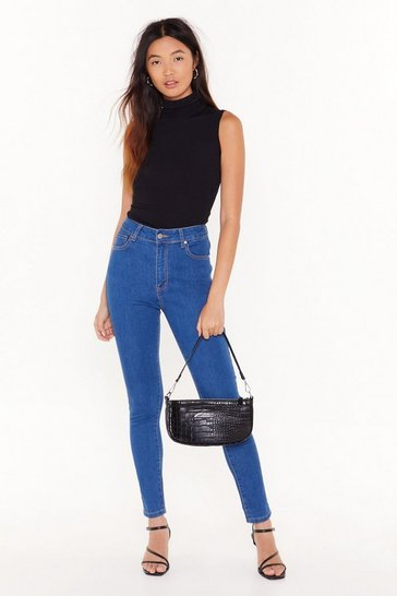 Womens Mid blue Recyled You Know We're Tight High-Waisted Skinny Jeans
