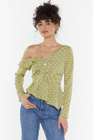 Womens Sage Spot Frill One Shoulder Top