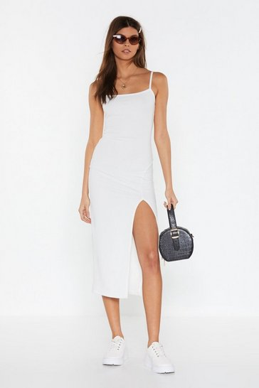 Womens White Slit the Jackpot Ribbed Midi Dress