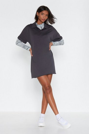 Womens Dark grey Love Shirts Oversized Mini Dress