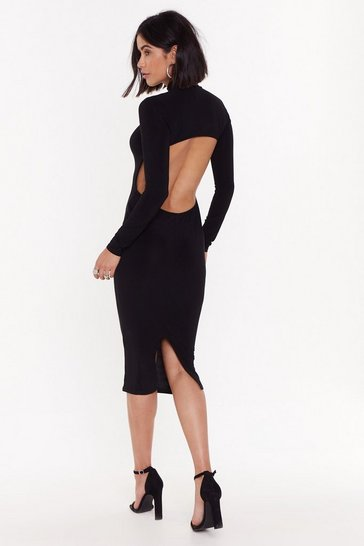Womens Black Opening Up for Love High-Neck Midi Dress