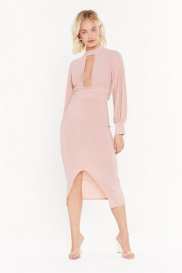 Womens Rose Gathered Waist and Neck Midi Dress
