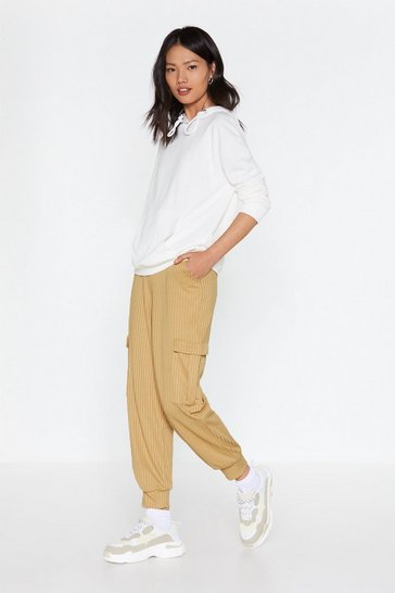 Womens Stone Cargo Get 'Em Ribbed Pants