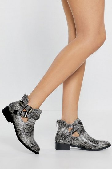 Womens Grey Fangs Ever So Much Snake Buckle Boots