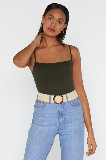 Womens Khaki Close By Ribbed Bodysuit