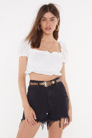 Ivory Can You Anglaise That Broderie Crop Top