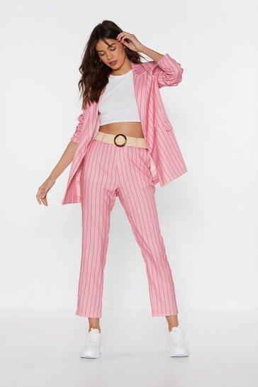 Womens Pink I Got a Line On You Pinstripe Tailored Trousers