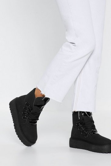 Womens Black On the Move Platform Chunky Boots