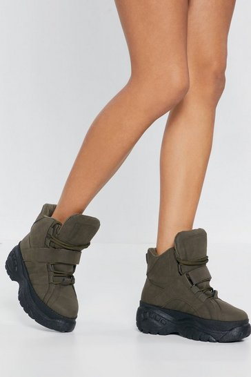 Womens Khaki High Top Platform Trainers