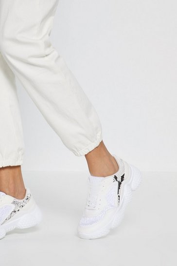 Womens White Moving on Up Textured Chunky Trainers