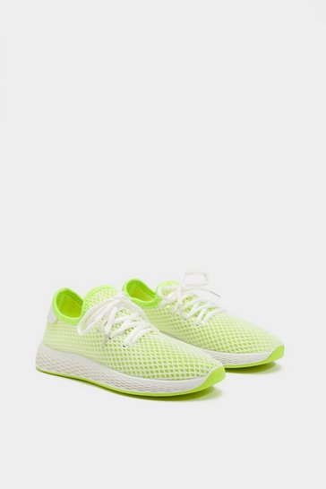 Womens Yellow Neon Mesh Trainers
