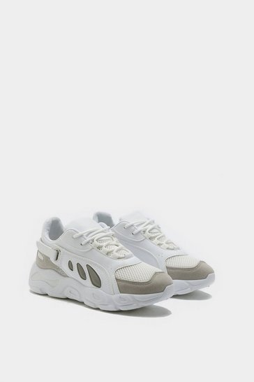 Womens White Lace Up Chunky Trainers