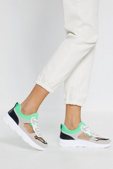 Womens Green Neon Lace Up Chunky Sneakers