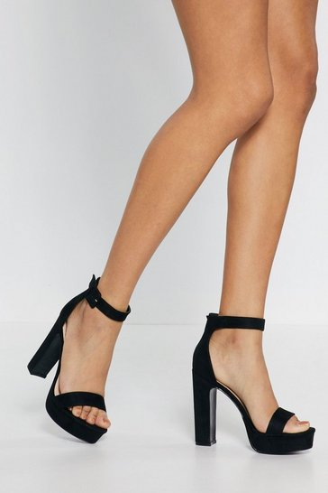 Black Get Moving Faux Suede Platform Sandals