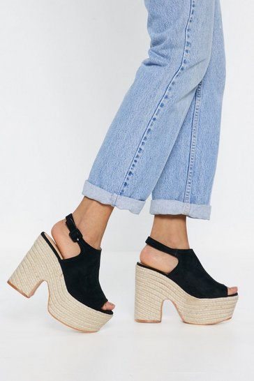 Womens Black Rise Above Espadrille Platform Sandals