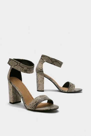 Womens Stone Snake Print Block Heel Sandals