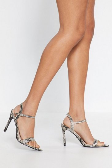 Womens Brown Snake Print Stiletto Heels