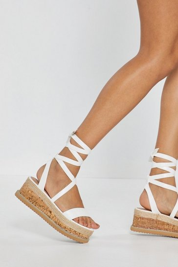 Womens White Enough With the Cork Platform Sandals