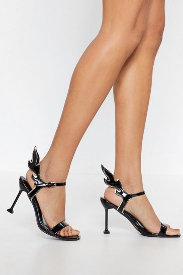 Womens Black Flame Strappy Heeled Sandals