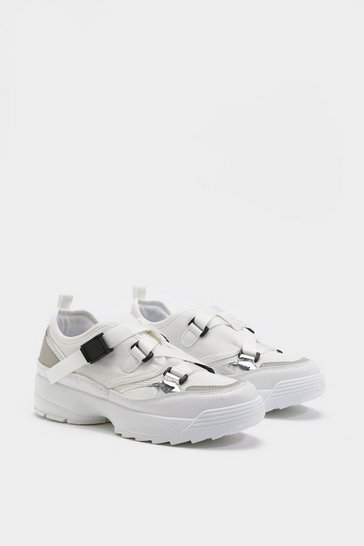 Womens White Cross Strap Chunky Sneakers