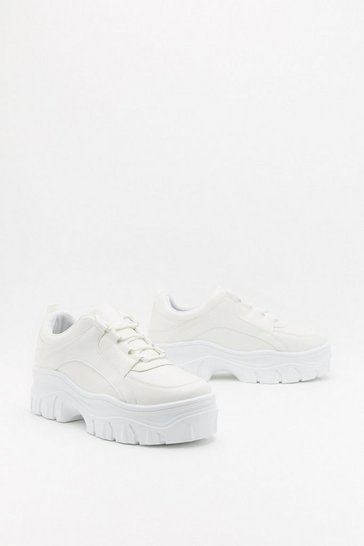 Womens White Modern Chunky Sole Low Top Sneaker