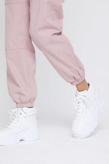 Womens White Can I Get a Boot Boot Chunky Sneakers