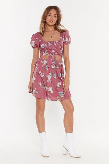 Womens Dusty rose Ready for Happy Flower Cut-Out Mini Dress