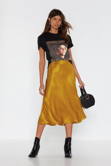Gold Sleek Havoc Bias Cut Satin Skirt