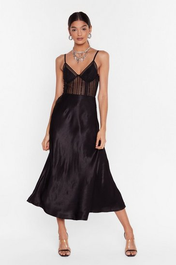 Black Sleek at the Knees Satin Midi Skirt