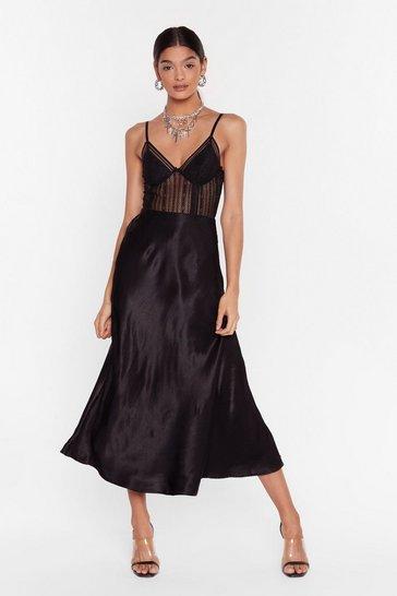 Black Sleek at the Knees Satin Midi Skirt