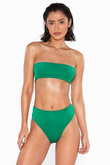 Womens Green The Grass is Always Greener High-Leg Bikini Bottoms