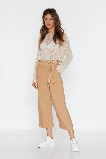 Womens Beige Wrap Time Linen Cropped Pants