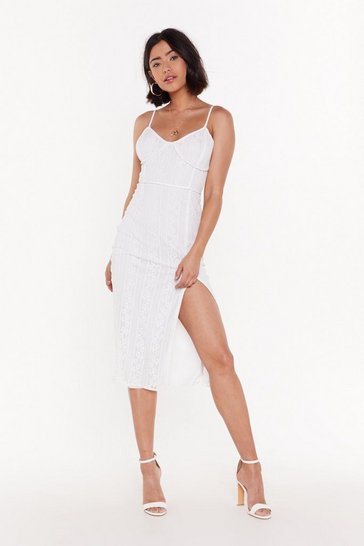 Womens White Save the Lace Dance for Me Midi Slit Dress