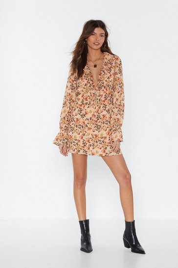 Womens Peach Desert Flower Ruffle Mini Dress