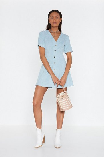 Womens Blue Button Cloud Nine Corduroy Dress