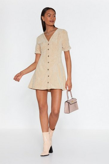 Womens Stone Button Cloud Nine Corduroy Dress