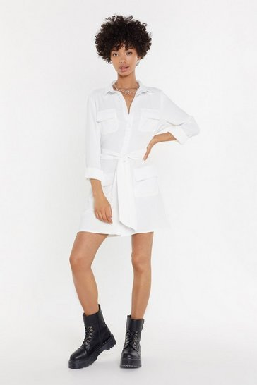 Womens White Shirt Happens Tie Mini Dress