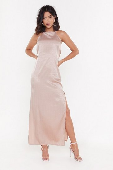 Womens Rose Always Be My Baby Satin Maxi Dress